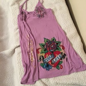 XL Ed Hardy Eternal Love Bling Dress or Long Top